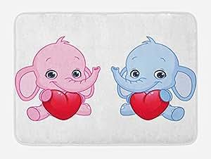 """Ambesonne 多色浴室脚垫 标准尺寸 粉色蓝色 29.5"""" W By 17.5"""" L bath_36211"""