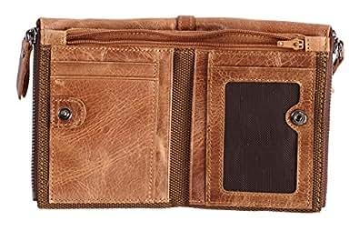 Easyoulife RFID 男士真皮钱包复古双折钱包 2 个拉链口袋 咖啡色 中号