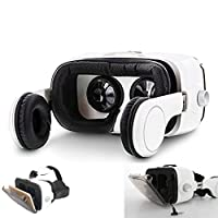 3D VR Headset with Integrated Headphones - iOS & Android - Immersive Virtual Reality Goggles with 120° Viewing Angle - Ergonomic Straps & Built-in Touch-Screen Control