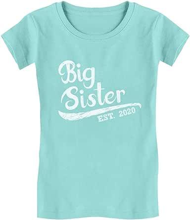 TeeStars - Big Sister Est 2020 - 同学礼物女孩修身儿童 T 恤 2020/Chill Blue Medium