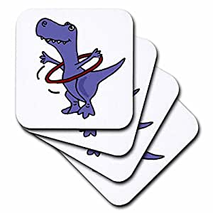 3dRose cst_195123_3 Funny Trex Dinosaur Playing with Hula Hoop Ceramic Tile Coasters, (Set of 4)