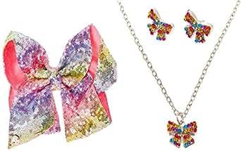I WEAR JOJO JoJo Siwa 签名*舞蹈生日系列蝴蝶结带彩虹项链和耳环套装