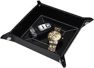 Carbon Fiber Black Mens Key Phone Coin Bedside Box Storage Tray Valet Change