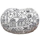 Lukeight Toy 收纳袋大号填充动物收纳豆袋椅,多用途收纳,完美的装饰性儿童房 - 96.52 cm 蓝色条纹