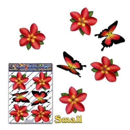 FLOWER Red Frangipani Plumeria Small BUTTERFLY ANIMAL Pack 汽车贴纸贴花 - ST00041RD_SML - JAS 贴纸
