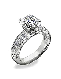 Venetia *心形和箭头 2 或 1 克拉仿钻戒指环套装艺术装饰卷纹密镶