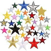 星星补丁 40 片熨烫/缝制刺绣装饰贴花星星补丁适用于夹克、背包、牛仔裤、包、帽子、衣服 黑色 DAPUTOU