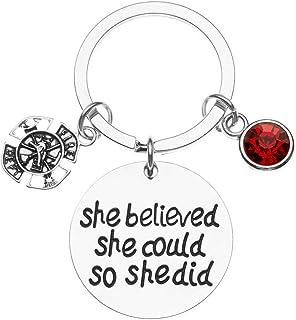 Infinity 系列消防员钥匙扣,She Believed She Could So She Did 珠宝送给消防员妻子、女朋友、妈妈、女儿 - 消防员妻子珠宝