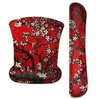 Meffort Inc 鼠标垫护腕和游戏键盘腕垫组合套装 – 耐用的人体工程学防滑防滑方形底座支架支撑 Cherry Blossoming