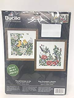 Bucilla 春夏两件套鸟数十字绣套件 20.32 x 20.32 厘米