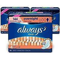 Always Maxi 女士护翼卫生巾,尺寸 4,隔夜,无香型,48 片 - 3 件装(共 144 片)