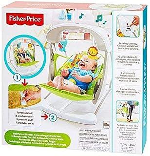Fisher-Price 雨林便携式秋千座椅套装,新生儿婴儿秋千座椅,带舒缓震动、歌曲和声音,适合新生儿使用