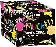 Kreul 2300 Mucki 水性手指颜料,优质套装,野生儿童,适合两岁以上儿童,8 x 150毫升颜色为黄色,粉色,蓝色,*,白色,黑色,银色和金色,彩色
