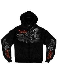 Hot Leathers 黑色幽灵老鹰拉链连帽衫 X大码 黑色 GMZ4137 BLACK, XL