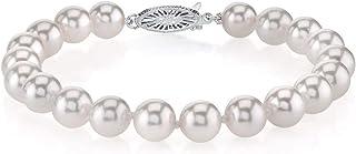 THE PEARL SOURCE 18K 金 7-7.5 毫米圆形白色日本 Akoya 海水养殖珍珠女士手链