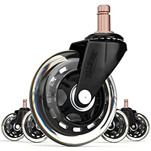 SunnieDog Office 10MM Stem Rollerblade Style Office Chair Caster Wheel Replacement, Black (Set of 5)