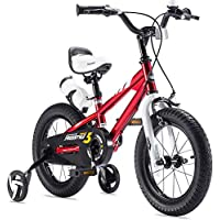 RoyalBaby 男孩女孩儿童自行车 2 手刹 BMX 自由式自行车 适合 2 至 9 岁 12 14 16 英寸带轮 16 18 英寸带支架儿童自行车 蓝色 红色
