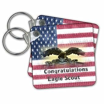 "3dRose 特别活动 - 格伦西亚祝贺老鹰童子军在旗帜 - 钥匙链 2.25 x 2.25"" 不适用"