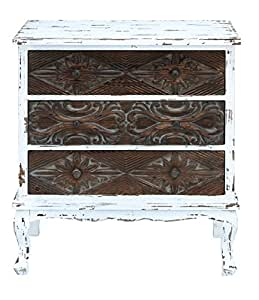 Benzara Cabinet with Weathered Finish, 33 by 33 by 33-Inch, Blue