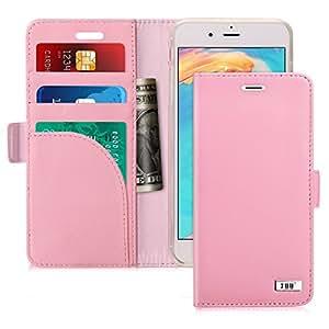 iPhone 4手机壳 iPhone 7手机壳 fyy [ RFID blocking 钱包 ] [ 真皮 ] *** 手工钱包手机壳信用卡保护膜适用于 iphone 7/ 8 Rose Gold