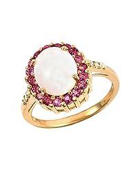 Ivy Gems 镀金纯银椭圆形切割蛋白石粉色电气石和钻石戒指 多种颜色 O