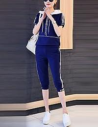 DVG 女装休闲运动套装女时尚卫衣套装大码套装短袖两件套女休闲套装女 DW8448