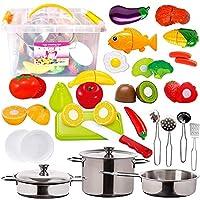 FUNERICA 儿童过家家食物套装 - 带漂亮的储存容器 - 套装包括可切割的游戏水果和蔬菜 - 家禽 - 3 个迷你不锈钢玩具锅和平底锅 - 刀等