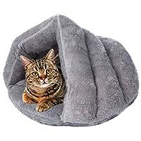 宠物狗床猫床,柔软毛绒带帽宠物床猫抱被床猫睡袋区域三角形嵌套宠物猫窝 灰色 MEDIUM - Fit Pets Within 20 lbs 43396-249326