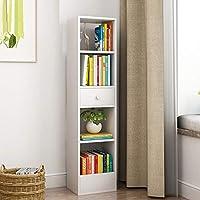 创意四方书架简约落地式组合书柜简易学生小书架多功能储物置物柜省空间桌上寝室书架 (五层暖白色)