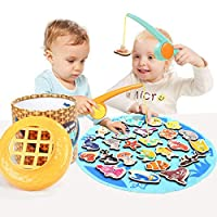 TOP BRIGHT 学步儿童玩具 钓鱼游戏男孩女孩礼物 2 - 2 名玩家儿童户外游戏,带磁性玩具钓鱼杆