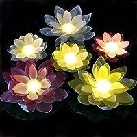 LACGO 电池供电混合色防水浮动 LED 莲花灯,百合花变色灯,花朵夜灯游泳池花园鱼缸婚礼派对装饰 7''4.3'' 暖白色
