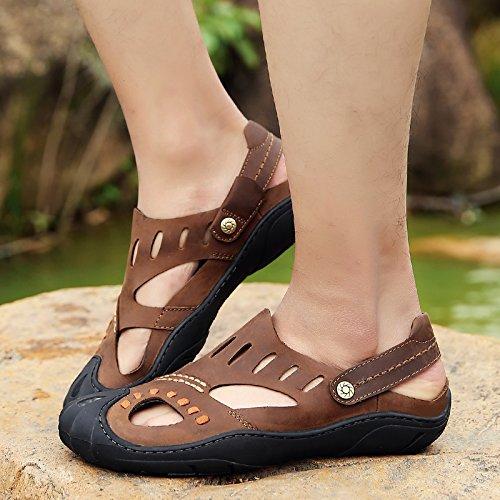 jiangtian 绛天 男凉鞋夏季真皮包头舒适软底英伦商务通勤休闲鞋透气两用凉拖沙滩鞋