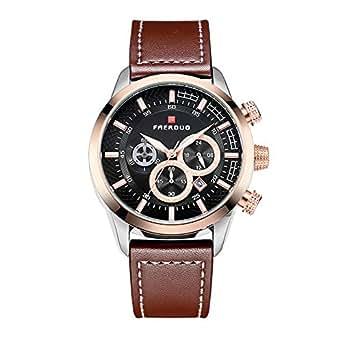 Faerduo 男式时尚手表模拟石英手表皮革表带三表盘防水手表黑色
