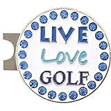 Giggle Golf Bling Live Love 高尔夫蓝色高尔夫球标记,带标准帽夹