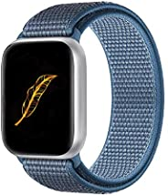 KONGAO 运动表带兼容苹果手表表带 38MM 40MM 42MM 44MM,轻质透气软尼龙替换表带 兼容 Apple Watch iwatch 系列 5 4 3 2 1 x-Sea blue 38mm/40mm