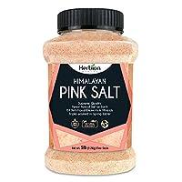 Herbion 喜马拉雅粉红盐 - 5 磅(2.2 千克)罐 - 细粒 - 无转* - *高质量 - 不含化学 - 素食 - 犹太洁食认证 - 颗粒*盐 - 三重水洗
