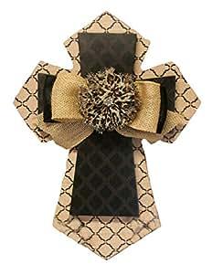 Faith Collection 棕褐色和黑色格子花蝴蝶结豹纹 MDF 多层壁挂,35.56 厘米