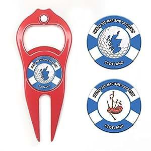 Hat Trick Openers Hat Trick 6 合 1 高尔夫草皮工具和扑克筹码套装 Scotland 徽标 红色 HTPC9213SCT