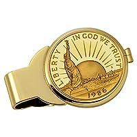 硬币钱夹 - 1986 自由纪念半美元雕像 纯 24k 金打造 | 黄铜钱夹 分层纯 24k 金打造 | 可存放现金、信用卡、现金 | 正美国 硬币