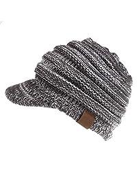 Dukars 女士保暖粗线针织毛皮帽马尾帽