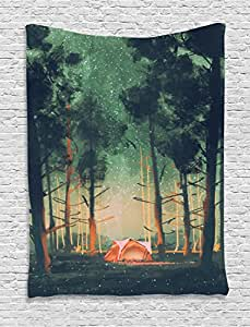 Fantasy Art House Decor Tapestry by Ambesonne, Camping in Forest at Night with Stars Fireflies Magical Nature Scene, Wall Hanging for Bedroom Living Room Dorm, 40WX60L Inches, Orange