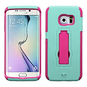 MyBat Asmyna Symbiosis Stand Protector Cover for Samsung G925 Edge - Retail Packaging Hot Pink/Sky Blue