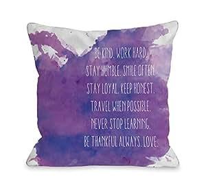 OBC Bentin Home Decor Be Kind Work Hard Inkblot 户外抱枕 紫色 18x18 Pillow 12272PL18