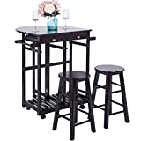 Harper&Bright Designs家庭厨房存储车轮带落叶轮和2个凳子