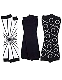 juDanzy Urban 中性婴儿和学步护腿 3 件装黑色灰色和白色