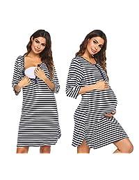 Ekouaer 女式柔软短袖睡衣套装女式睡衣两件套上衣和短裤裤子圆领 S-XXL 码
