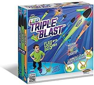 Geospace Jump Rocket LED 三重发射垫和 3 枚泡沫火箭;非常适合在黑暗的户外玩耍中发光。