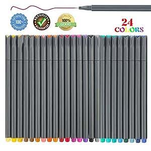 24 支 Fineliner 彩色笔套装,0.38 毫米细笔尖彩色书写点绘图笔,适用于书写日记记事本记事本日历涂色艺术学生 gray-24