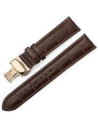 istrap 牛皮表带 真皮表带 男女通用手表带 蝴蝶扣玫瑰金 棕色棕线24mm