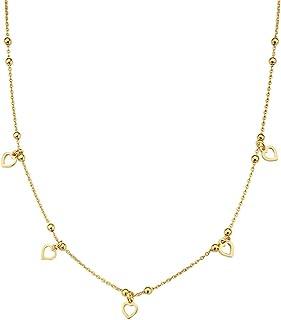 Pori Jewelers 18K 镀金925纯银意大利心形坠饰项链女士项链 - 33.02 cm + 7.62 cm 延长链 - 选择您的风格